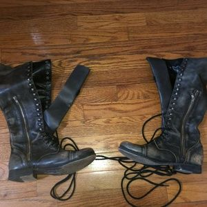Steve Madden Abee Vintage Lace up Leather Boots